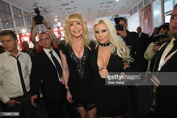 Former starlet Tatjana Gsell and porn star Dolly Buster attend the opening of the 2010 Venus Erotic Fair at Messe Berlin on October 21 2010 in Berlin...