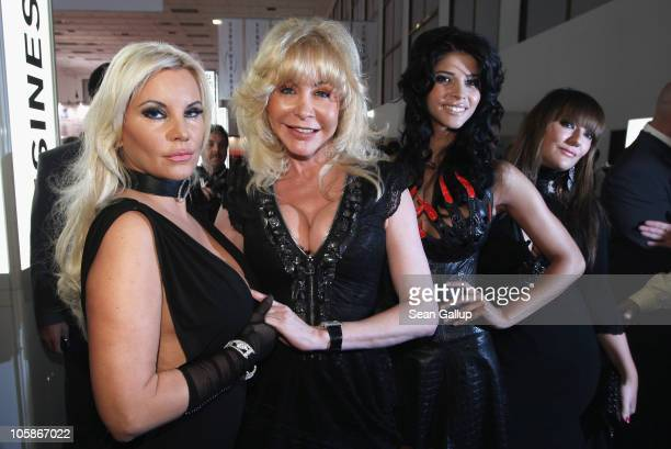 Former starlet Tatjana Gsell porn star Dolly Buster model Micaela Schaefer and Angie Katze attend the opening of the 2010 Venus Erotic Fair at Messe...