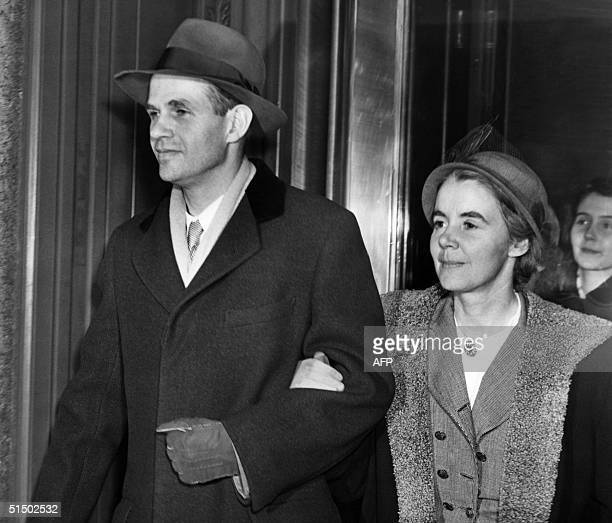 Former State Department official Alger Hiss and his wife leave the Federal Court 21 January 1950 after the jury found him guilty on two perjury...