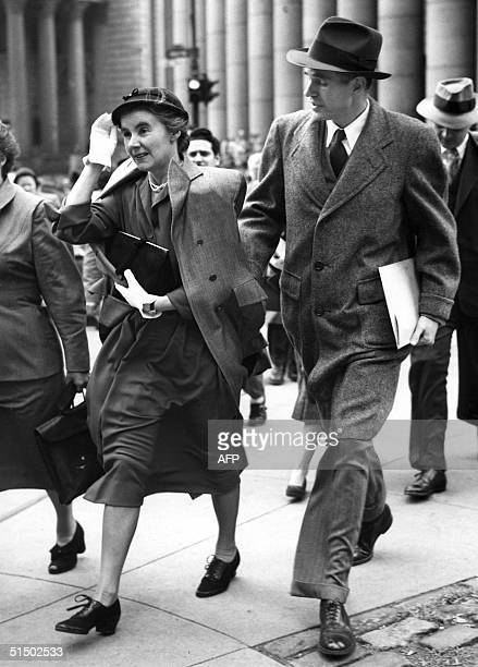 Former State Department official Alger Hiss and his wife leave the Federal Court 13 October 1950 after the opening hearing before the court of...