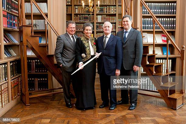 Former State Minister Simone Veil with her husband Antoine Veil and their two sons Jean and Pierre Francois Simone Veil dressed in the French...