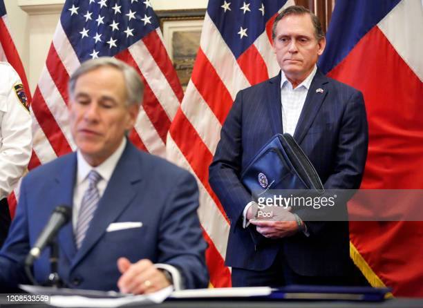 Former State Representative Dr. John Zerwas listens to Texas Governor Greg Abbott announce the US Army Corps of Engineers and the state are putting...