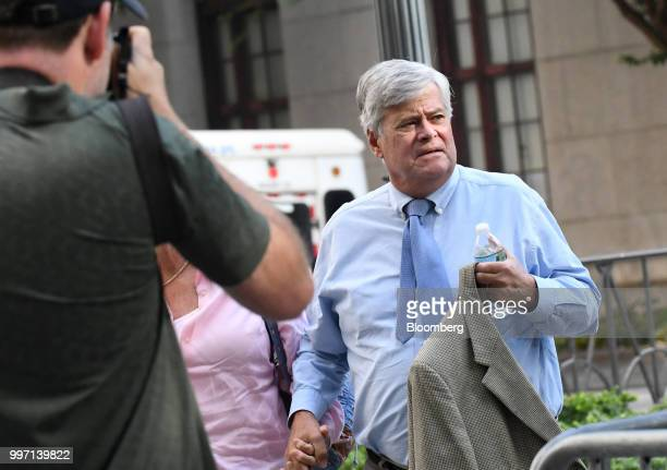 Former State Senate Majority Leader Dean Skelos arrives at federal court in New York US on Thursday July 12 2018 Prosecutors say the oncepowerful...