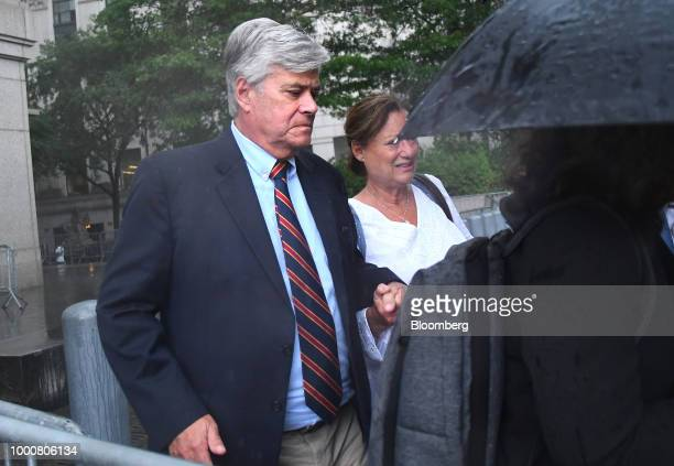 Former State Senate Majority Leader Dean Skelos exits federal court in New York US on Tuesday July 17 2018 Skelos was found guilty of bribery...