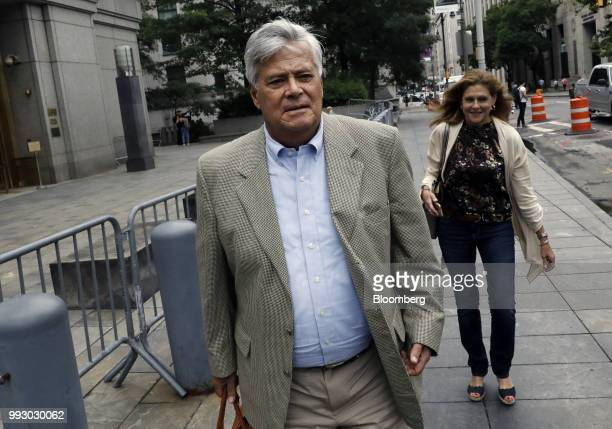 Former State Senate Majority Leader Dean Skelos exits federal court in New York US on Friday July 6 2018 Prosecutors say the oncepowerful Republican...