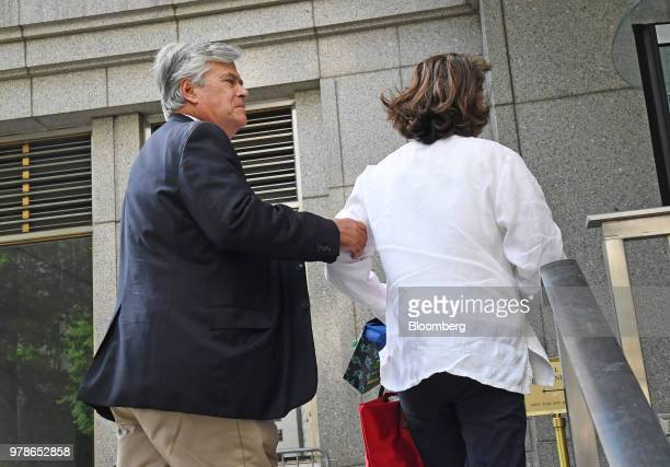 Former State Senate Majority Leader Dean Skelos left arrives at federal court in New York US on Tuesday June 19 2018 Skelos and his son will be...