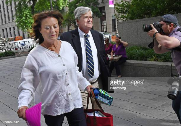 Former State Senate Majority Leader Dean Skelos right arrives at federal court in New York US on Tuesday June 19 2018 Skelos and his son will be...