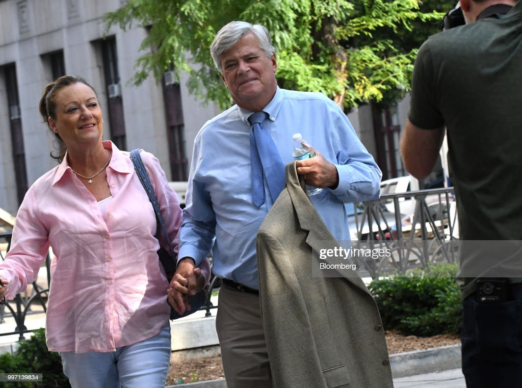 Former State Senate Majority Leader Dean Skelos, right, arrives at federal court in New York, U.S., on Thursday, July 12, 2018. Prosecutors say the once-powerful Republican politician badgered companies that needed his political sway to funnel more than $300,000 to his son through consulting work and a no-show job. Photographer: Louis Lanzano/Bloomberg via Getty Images
