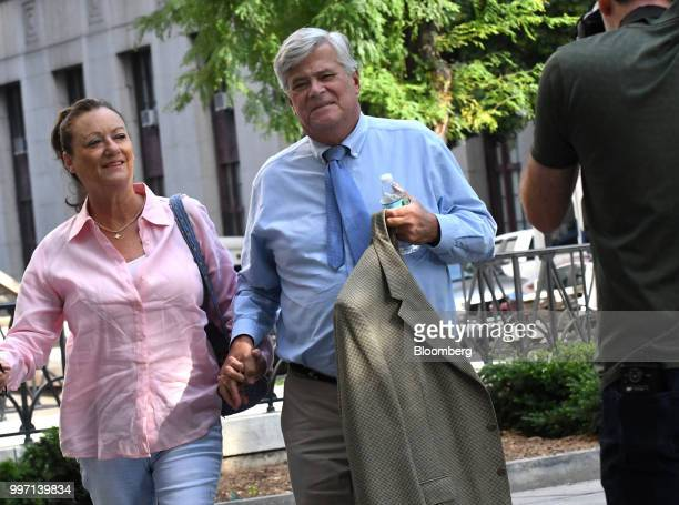 Former State Senate Majority Leader Dean Skelos right arrives at federal court in New York US on Thursday July 12 2018 Prosecutors say the...