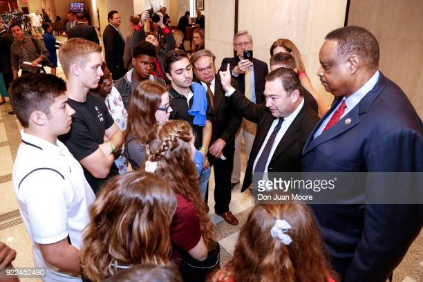 Former State Senator Jeremy Ring and Florida Senator Al Lawson Jr speak with students from Marjory Stoneman Douglas High School at the Florida State...