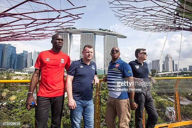 Former Stoke player Mamady Sidibe former Everton player Graham Stuart former Arsenal player Ian Wright and football pundit John Dykes pose on the...