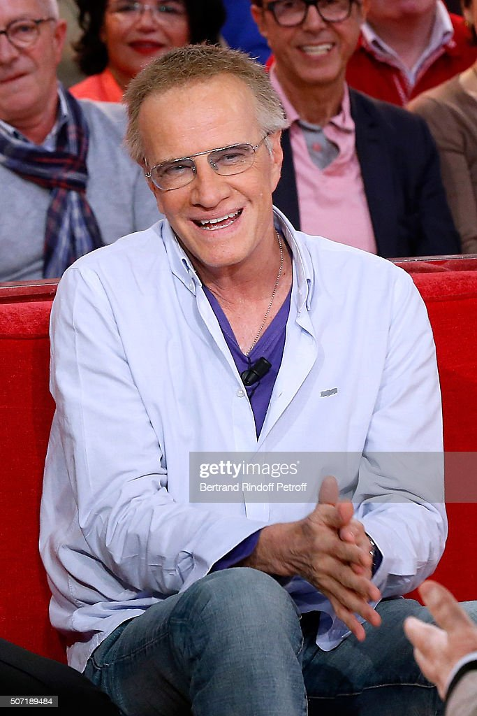 Former student of Main Guest of the show Michel Bouquet, Actor Christophe Lambert attends the 'Vivement Dimanche' French TV Show at Pavillon Gabriel on January 27, 2016 in Paris, France.