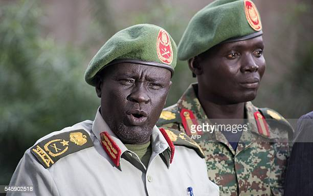 Former Sudan People's Liberation Army chief of general training and former inopposition general Dau Athorjang speaks during a press conference...