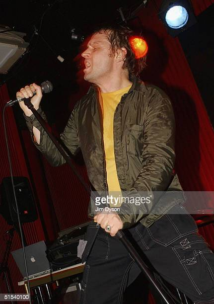 Former Sugarcubes vocalist Einar Orn performs with his band Ghostdigital at the National Theatre Basement during the second day of the Iceland...