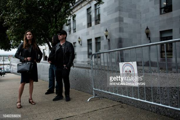Former supermodel and Cosby accuser Janice Dickinson stands outside the Montgomery County Courthouse as Bill Cosby is sentenced for sexual assault...