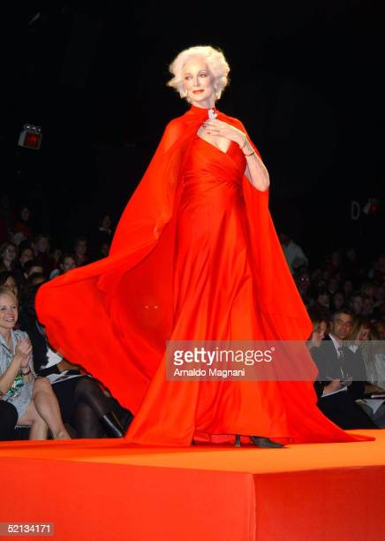 Former Supermodel Carmen Dell'Orefice models The Heart Truth Red Dress collection during Fashion Week at Bryant Park February 4 2005 in New York City