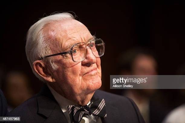 Former Supreme Court Justice John Paul Stevens testifies before the Senate Committee on Campaign Finance on Capitol Hill April 30, 2014 in...