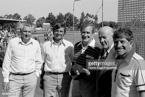 Former Surrey players Peter Loader Ron Tindall Jim Laker Tony Lock and Ken Barrington during the 2nd Test match between Australia and England at the...
