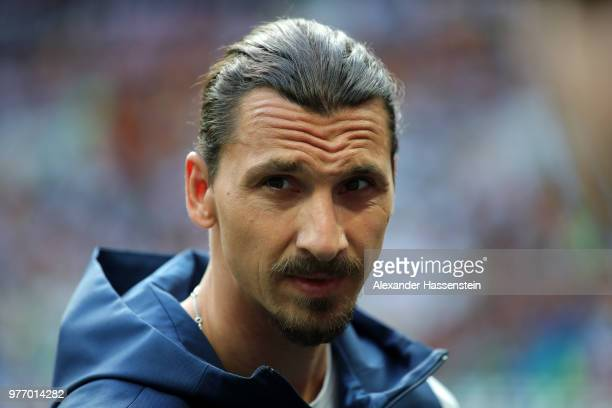 Former Sweden International Zlatan Ibrahimovic looks on prior to the 2018 FIFA World Cup Russia group F match between Germany and Mexico at Luzhniki...