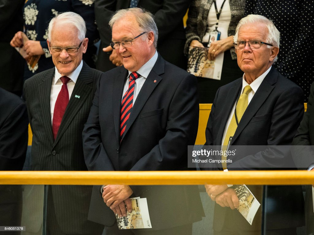 Former Swedish prime minister Goran Persson (center) attends the opening of the Parliamentary session on September 12, 2017 in Stockholm, Sweden.