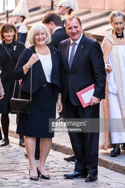 Former Swedish prime minister Stefan Lofven and wife Ulla Lofven attend a church service at the Stockholm Cathedral in connection with the opening of...