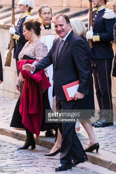 Former Swedish prime minister Stefan Lofven attends a church service at the Stockholm Cathedral in connection with the opening of the Swedish...