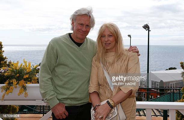 Former Swedish tennis player Bjorn Borg poses with his wife Patricia Ostfeld during the MonteCarlo ATP Masters Series Tournament on April 20 2013 in...