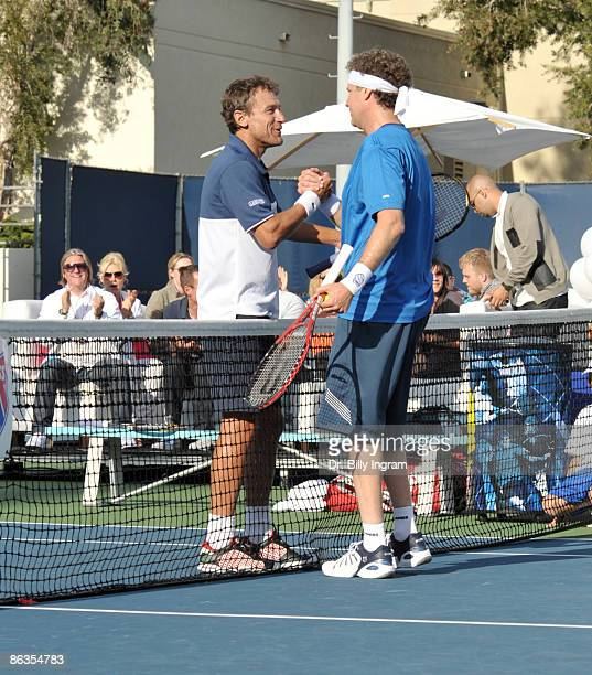 Former Swedish World Champion Mats Wilander and comedian/actor Will Ferrell participate in The K-Swiss Global Tennis Showdown at The Los Angeles...