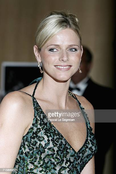Former swimmer Charlene Wittstock arrives at the Monaco Red Cross Ball under the Presidency of HSH Prince Albert II in the Salles des Etoiles at the...