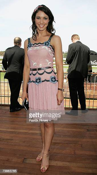 Former swimmer Giaan Rooney attends the David Jones marquee during the Schweppes Sydney Cup Day the final day of the 4day Easter Racing Carnival at...