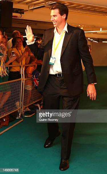 Former swimmer Grant Hackett arrives at the Australian Olympic Committee 2012 Olympic Games team flag bearer announcement at the Stratford Westfield...