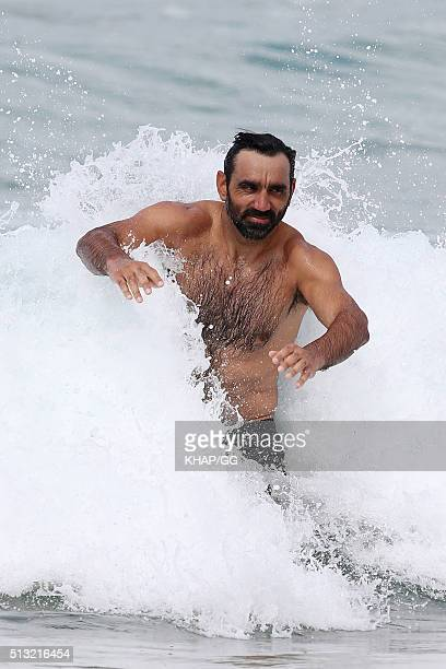 Former Sydney Swans AFL player Adam Goodes enjoys a swim at Bondi Beach on March 1 2016 in Sydney Australia