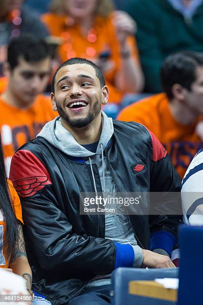 Former Syracuse Orange basketball player and current NBA player Tyler Ennis attends the basketball game between the Syracuse Orange and the Duke Blue...