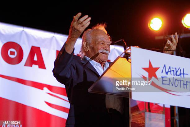 SQUARE ATHENS ATTICA GREECE Former SYRIZA and Popular Unity MEP Manolis Glezos addresses the final election rally of the Popular Unity The speaker of...