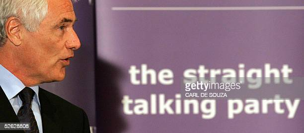 Former talkshow host turned politician now leader of 'Veritas' Robert KilroySilk speaks during the launch of his party's manifesto launch in London...