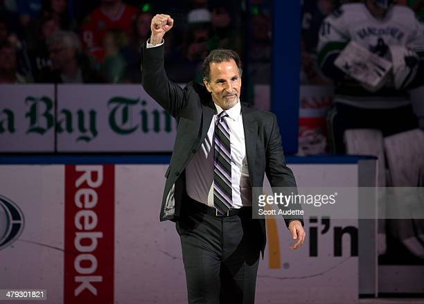 Former Tampa Bay Lightning and current Vancouver Canucks head coach John Tortorella celebrates the 10th anniversary of the Lightning winning the...