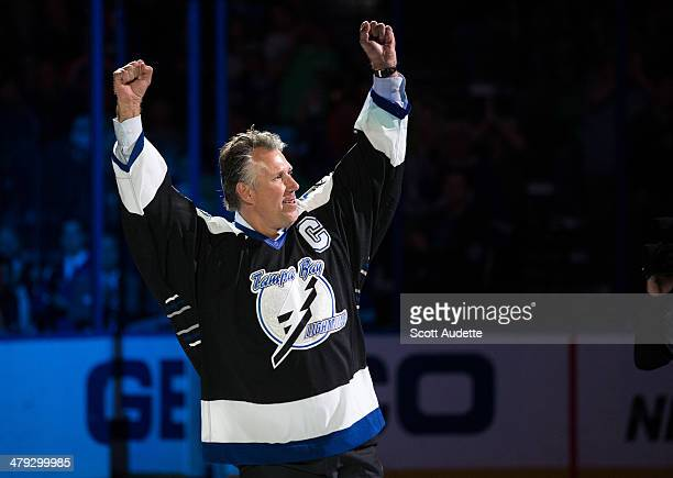 Former Tampa Bay Lightning captain Dave Andreychuk celebrates the 10th anniversary of the Lightning winning the Stanley Cup Championship during the...