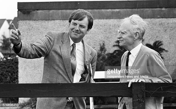 Former Taoiseach Liam Cosgrave with his son Liam T who is a Fine Gael candidate in Dun Laoghaire 68920