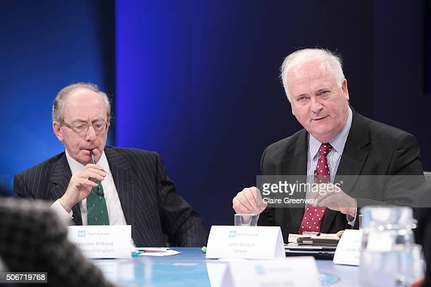 Former Taoiseach of Ireland, John Bruton and Former Foreign Secretary, Sir Malcolm Rifkind, KCMG, QC attend the 'EU Wargames' event at The Porter Tun...