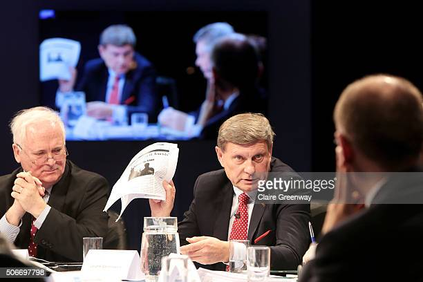 Former Taoiseach of Ireland, John Bruton, former Deputy Prime Minister of Poland, Leszek Balcerowicz and former PM of Italy, Enrico Letta attend the...