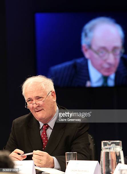 Former Taoiseach of Ireland, John Bruton listens as Former Foreign Secretary, Sir Malcolm Rifkind, KCMG, QC speaks at the 'EU Wargames' event at The...