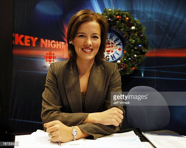Former Team Canada female hockey player Cassie Campbell sits on the set of CBC's Hockey Night in Canada during the game between the Calgary Flames...