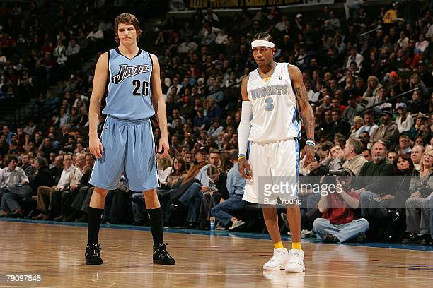 Former teammates Allen Iverson of the Denver Nuggets and Kyle Korver of the Utah Jaszz stand together on January 17 2008 at the Pepsi Center in...