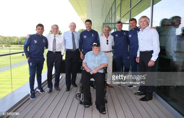 Former teammates and Tottenham Hotspur Legends Cliff Jones Alan Gilzean and Pat Jennings and Ossie Ardiles with Jimmy Greaves visit manager Mauricio...