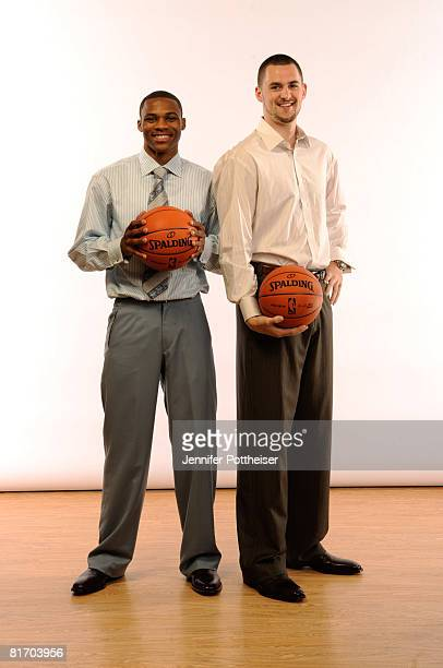 Former teammates Kevin Love and Russell Westbrook pose for a portrait during media availability for the 2008 NBA Draft on June 25 2008 at The Westin...