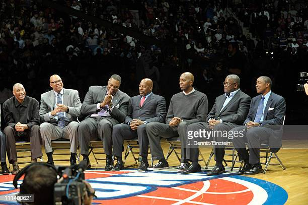Former teammates of Dennis Rodman attend the retirement ceremony of his Detroit Pistons on April 1 2011 at The Palace of Auburn Hills in Auburn Hills...