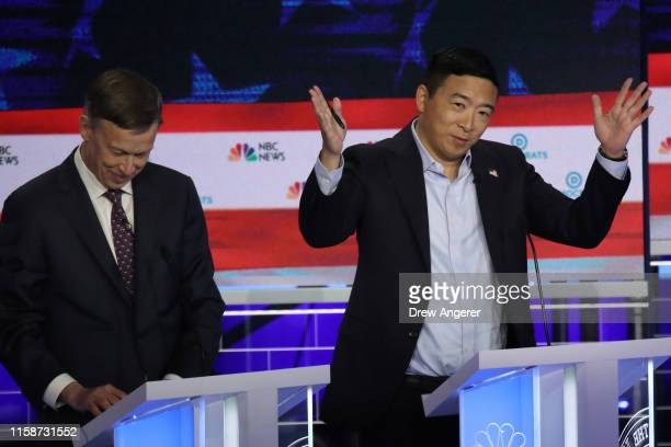 Former tech executive Andrew Yang gestures during the second night of the first Democratic presidential debate on June 27 2019 in Miami Florida A...