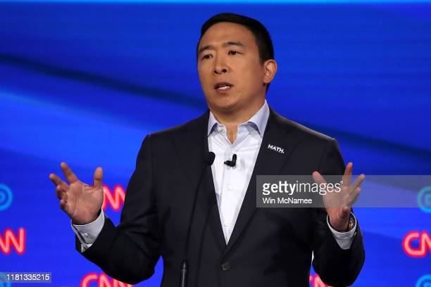 Former tech executive Andrew Yang speaks during the Democratic Presidential Debate at Otterbein University on October 15, 2019 in Westerville, Ohio....