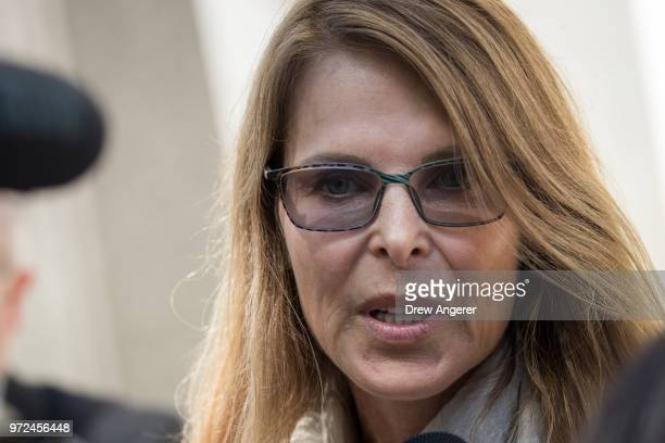 Former television actress Catherine Oxenberg, whose 26-year old daughter India Oxenberg has been involved with NXIVM, speaks to reporters outside the...