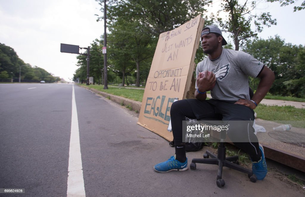 Former Temple Owls wide receiver Rashaun Sligh waits outside of the NovaCare Complex hoping for a tryout with the Philadelphia Eagles during mandatory minicamp on June 13, 2017 in Philadelphia, Pennsylvania.